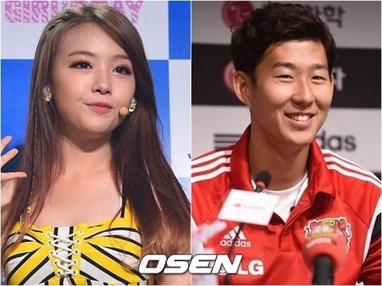 Minah วง Girls Day และ Son Heung Min