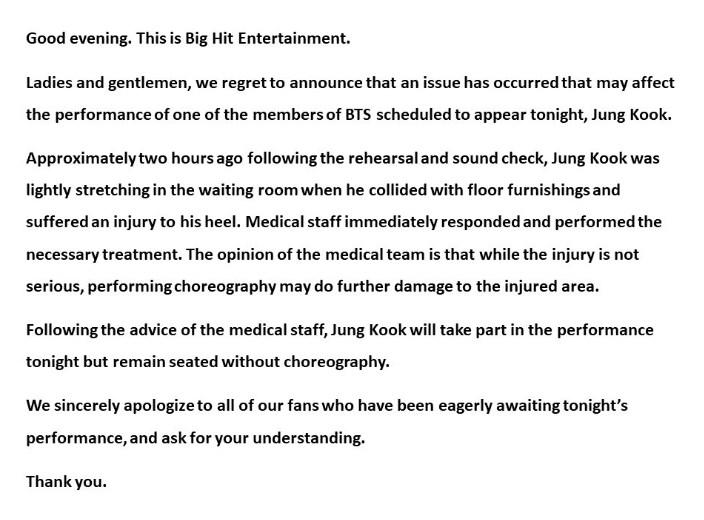 Big Hit Jungkook บาดเจ็บ คอนเสิร์ต BTS