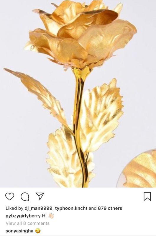 กิ๊บซี่ โพสต์ดอกกุหลาบทอง อินสตาแกรม