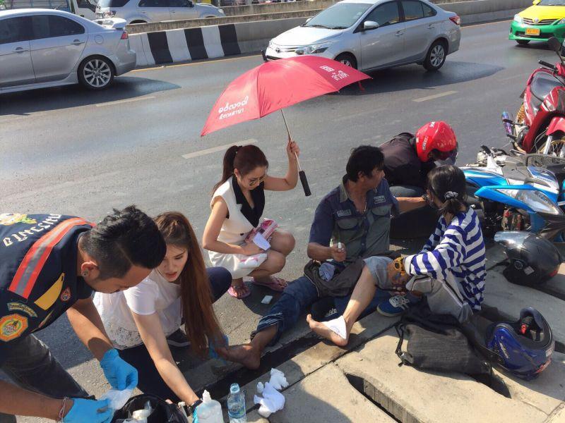 นักแสดงสาว จั๊กจั่น ตัวแม่ อั้ม เพลิงพระนาง ช่วยเหลือคนเจ็บ