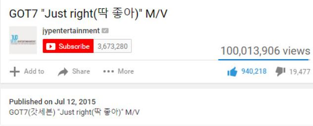 #JustRight100MPart GOT7 100ล้านวิว บอยแบนด์วงแรก JYP ไอดอลหนุ่ม