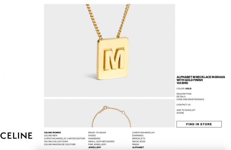 CELINE รุ่น Alphabet M Necklace
