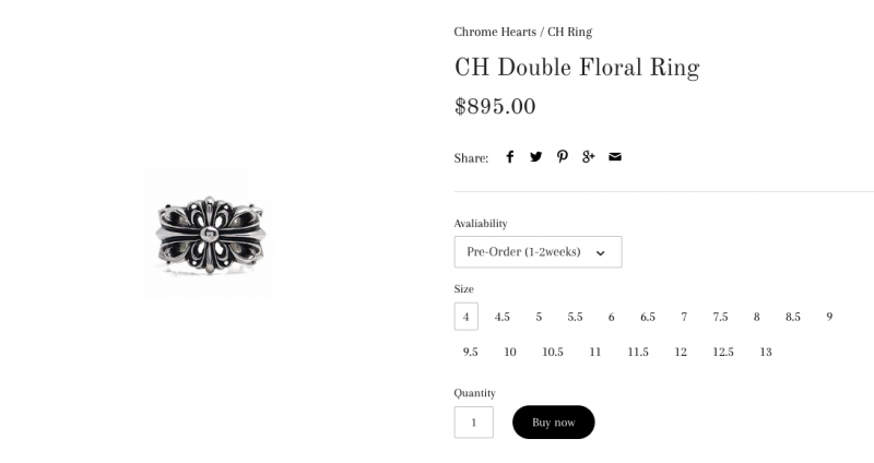 Chrome Heart รุ่น Double Floral Cross Ring