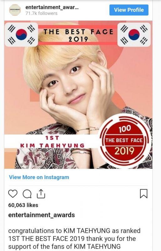 V คว้า ตำแหน่ง Korean Most Handsome and Beautiful 2019