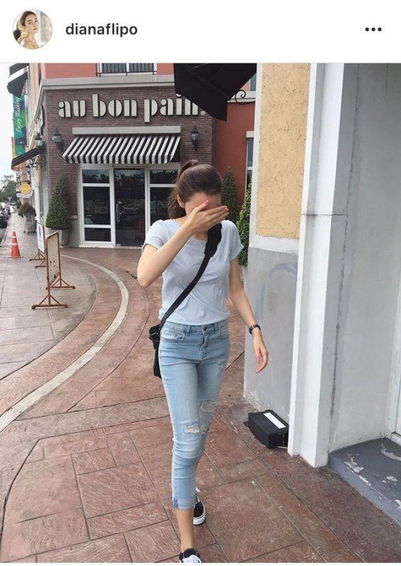 ดารา แฟชั่น simple look เสื้อยืด กางเกงยีนส์