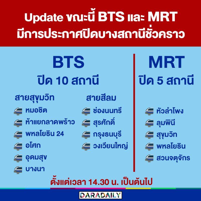 ปิดชั่วคราว MRT BTS